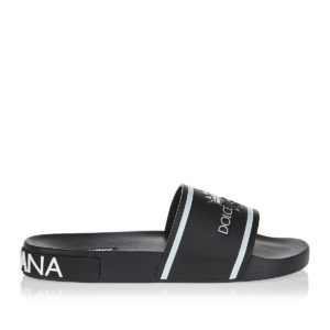 Logo leather and rubber slides