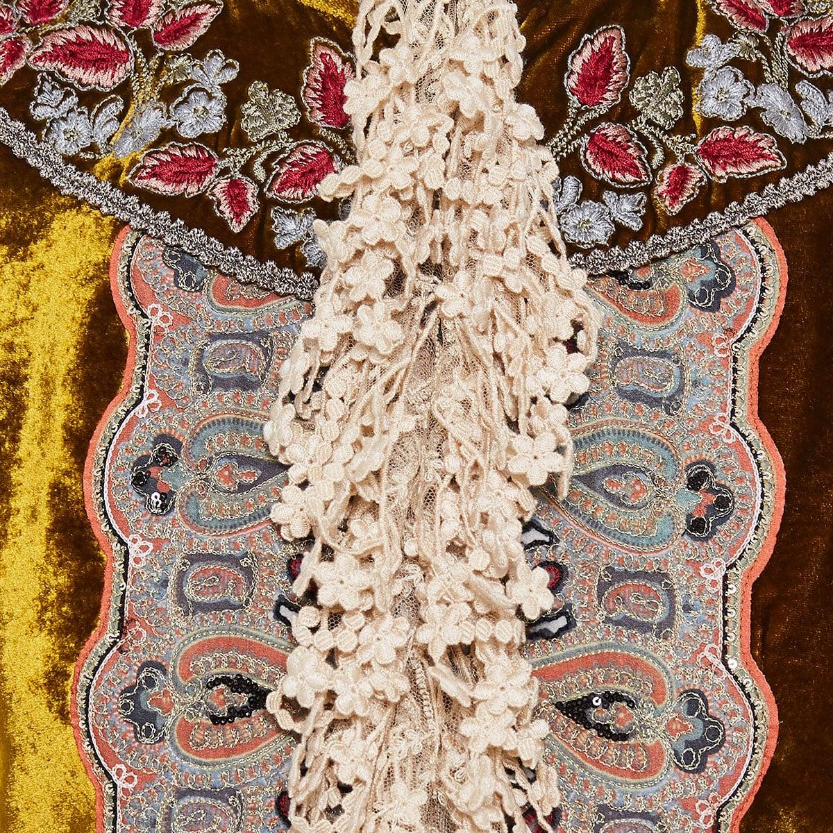 Lace-trimmed embroidered velvet jacket