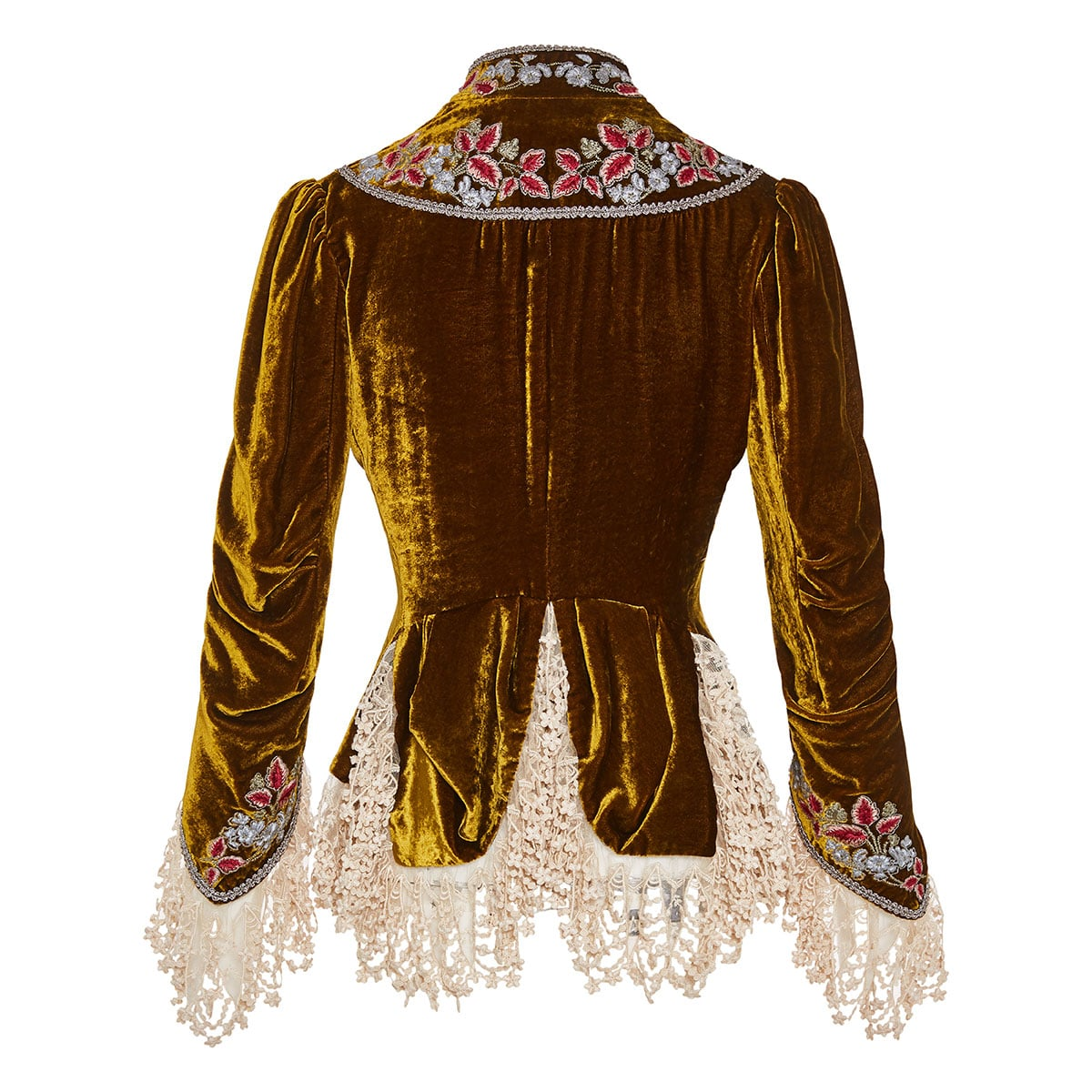 Lace-trimmed embroidered velvet jacket