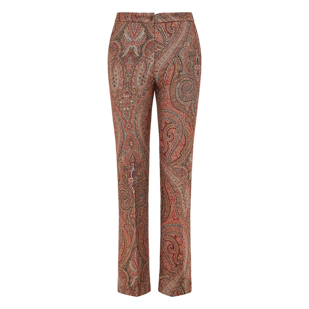 Paisley cropped jacquard trousers