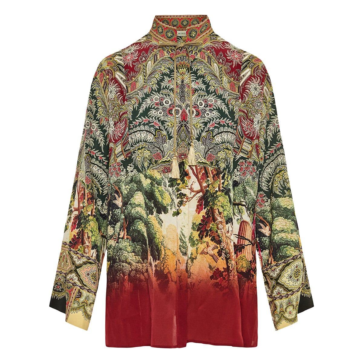 Oversized printed silk shirt