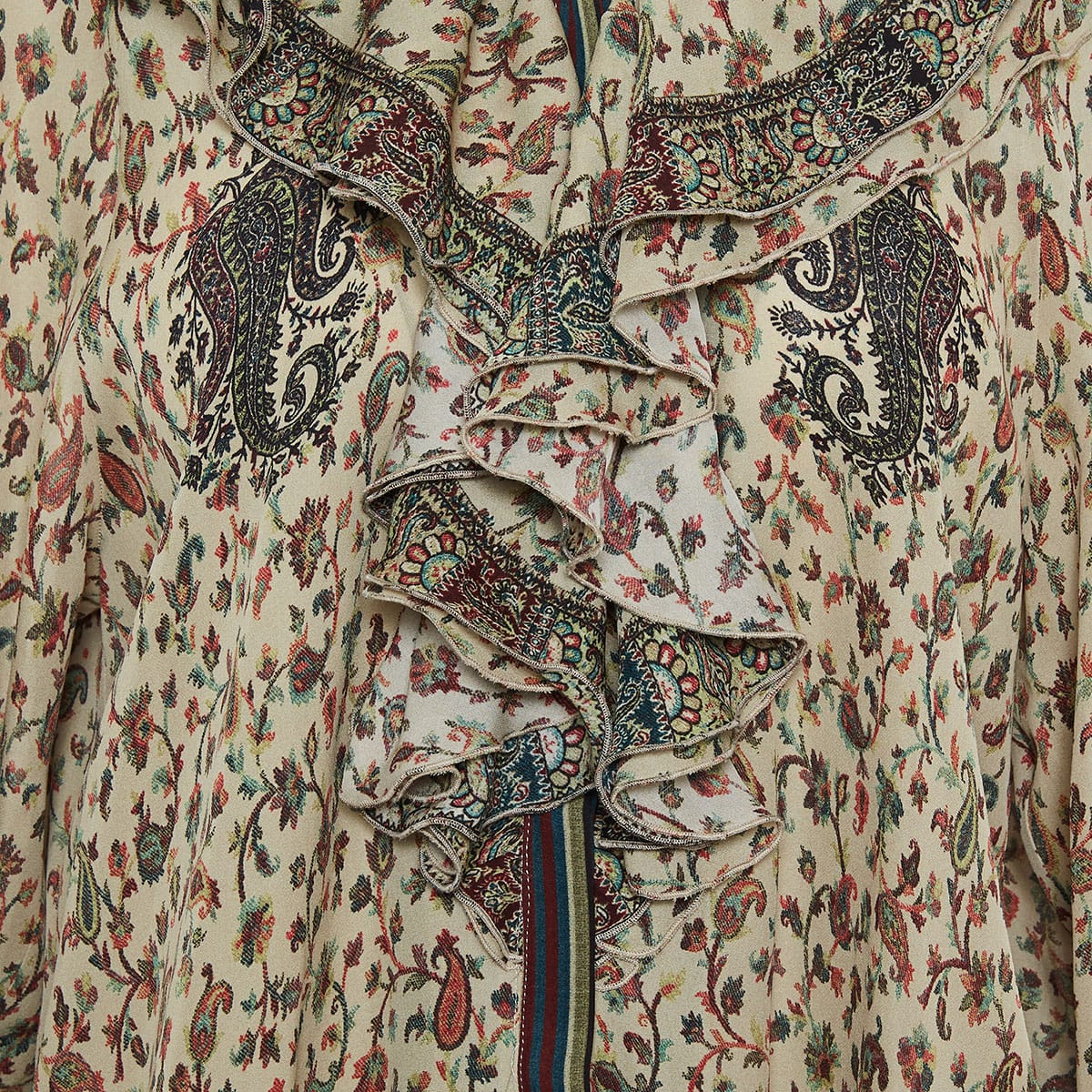 Ruffle-trimmed printed blouse