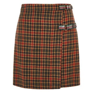 Checked wrap wool mini skirt
