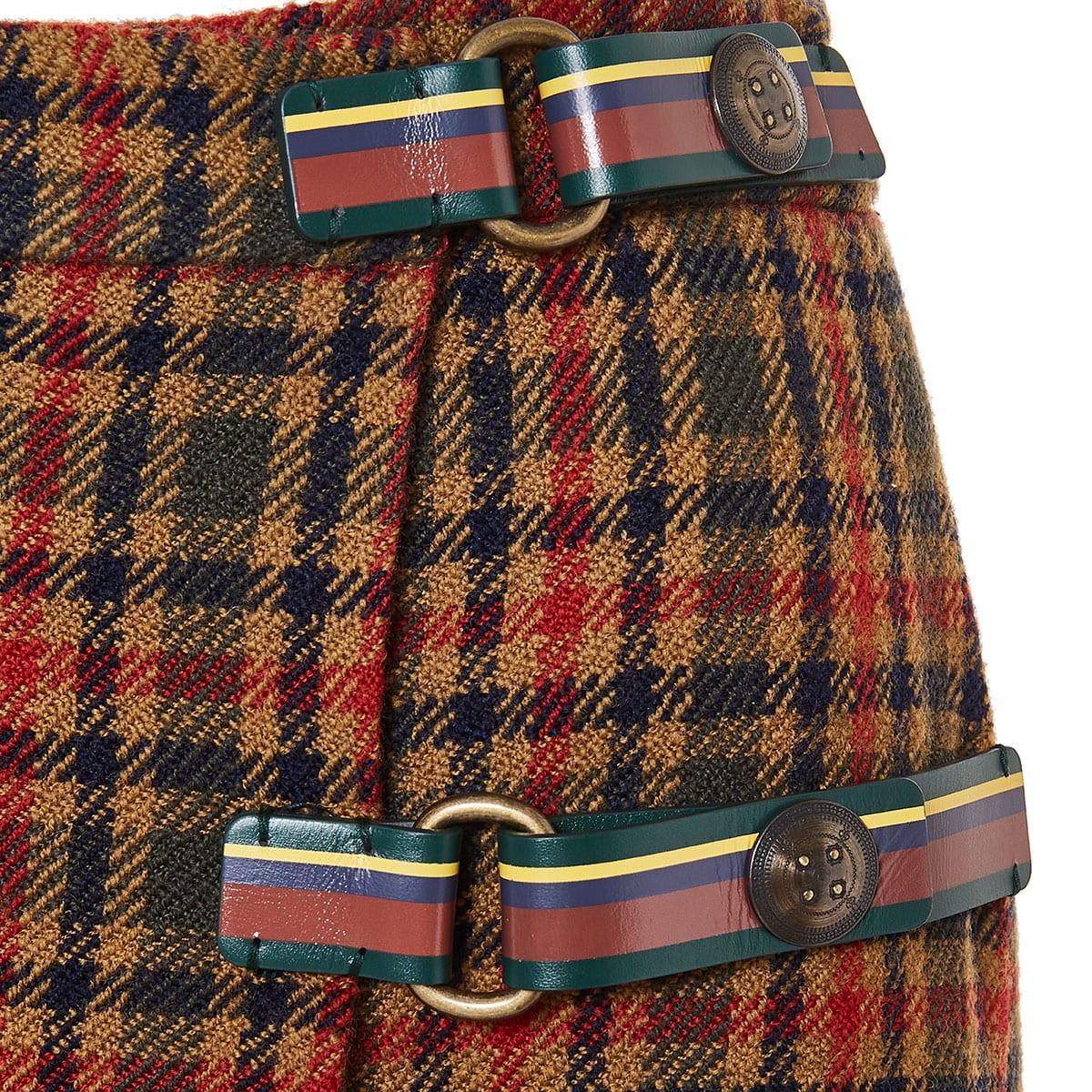 Checked wrap wool mini skirt