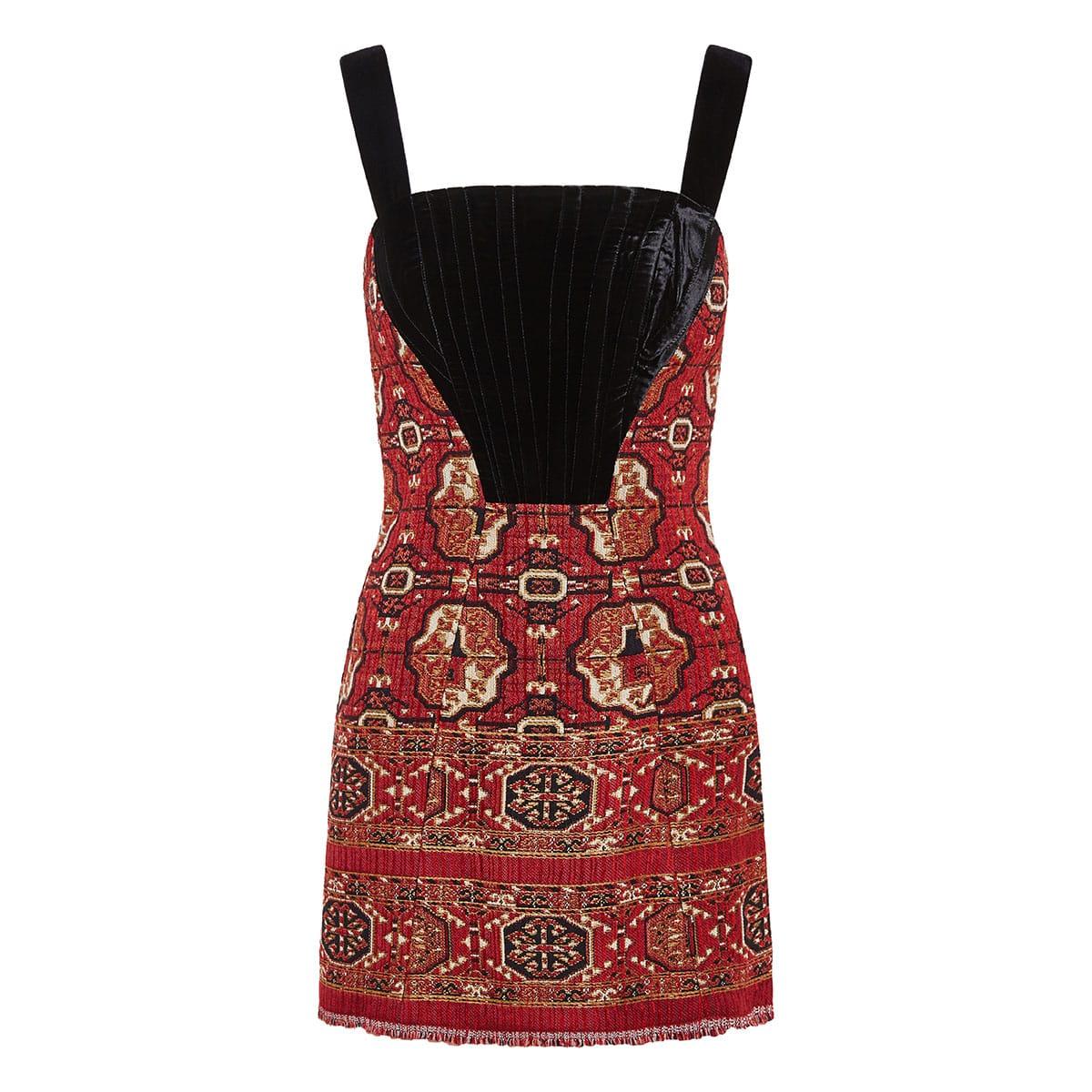 Velvet-paneled jacquard mini dress
