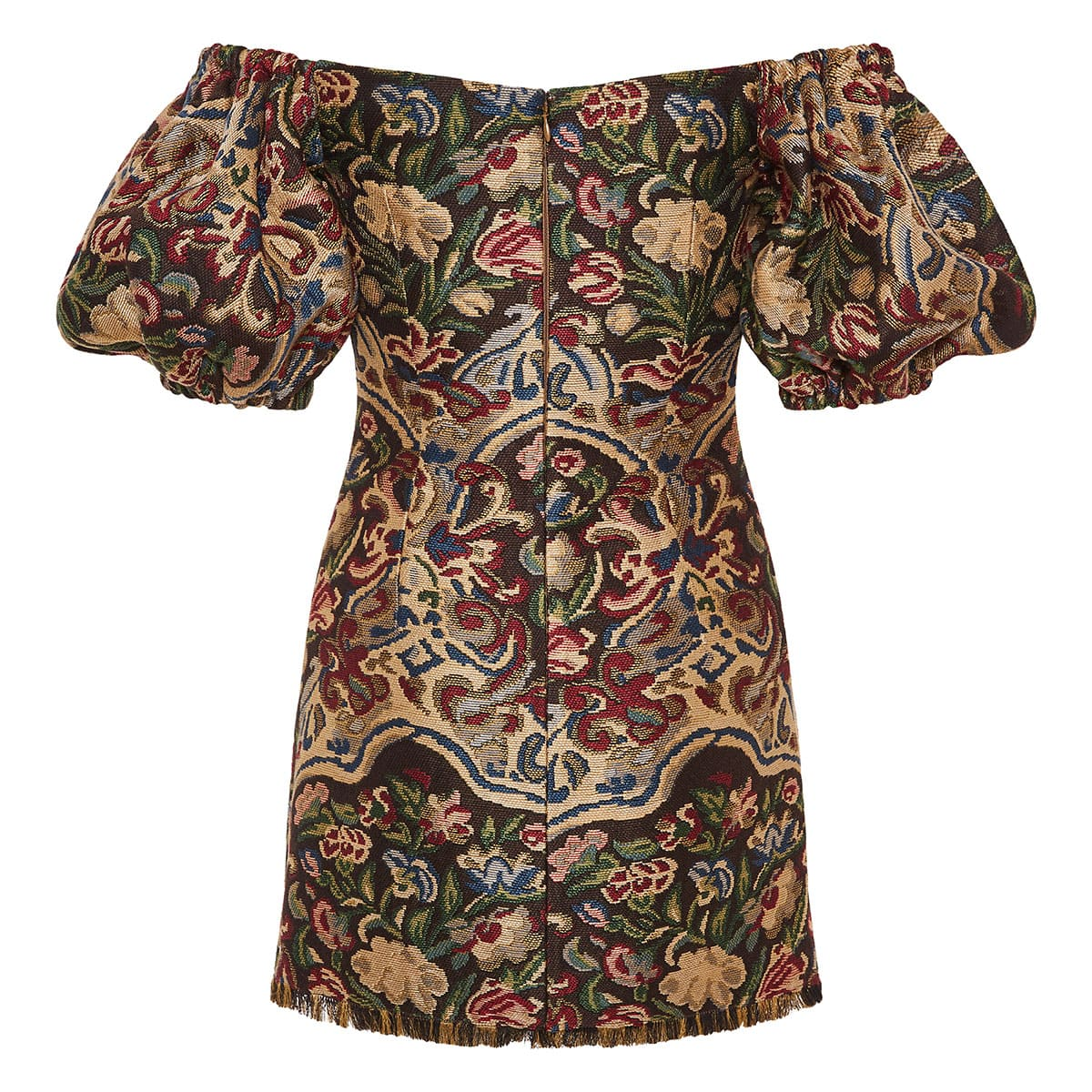 Off-the-shoulder printed jacquard mini dress