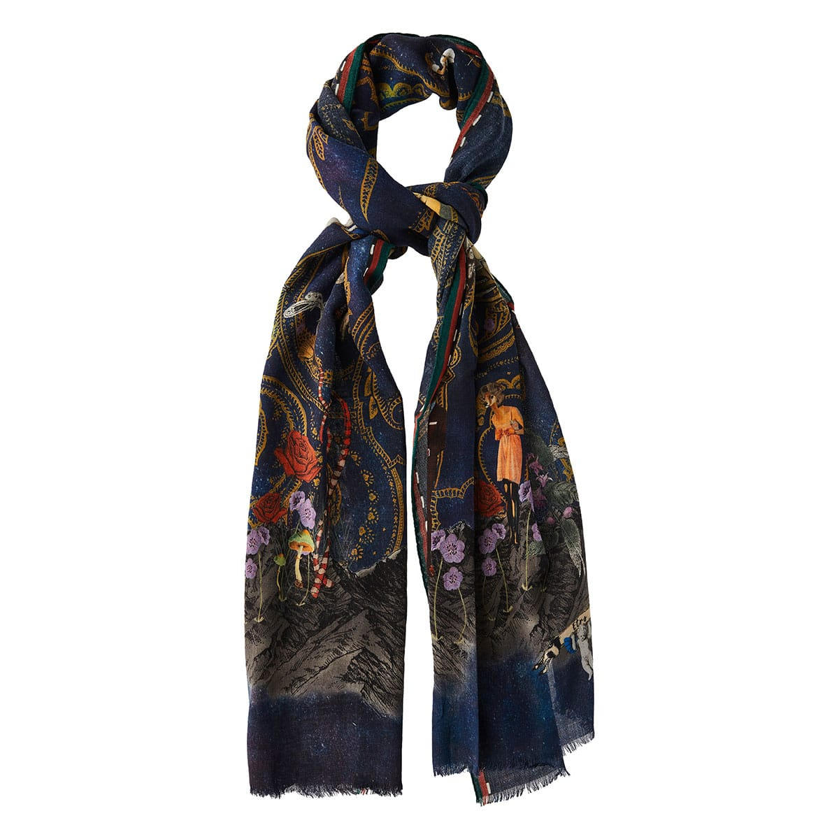 Printed wool-cashmere scarf