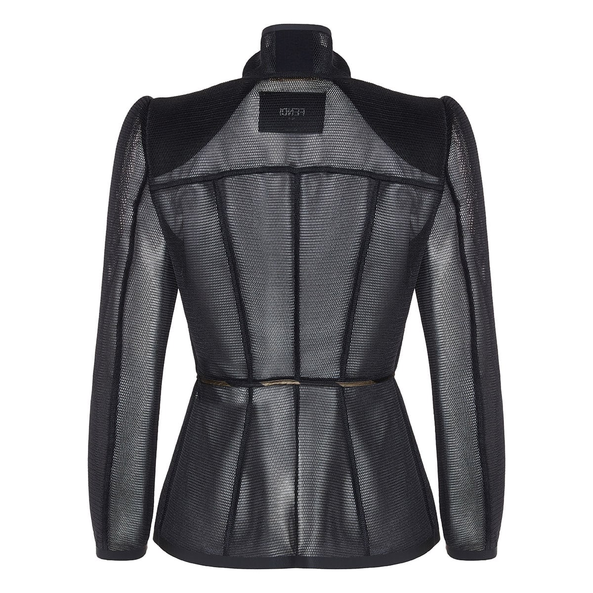 Structured micromesh peplum jacket