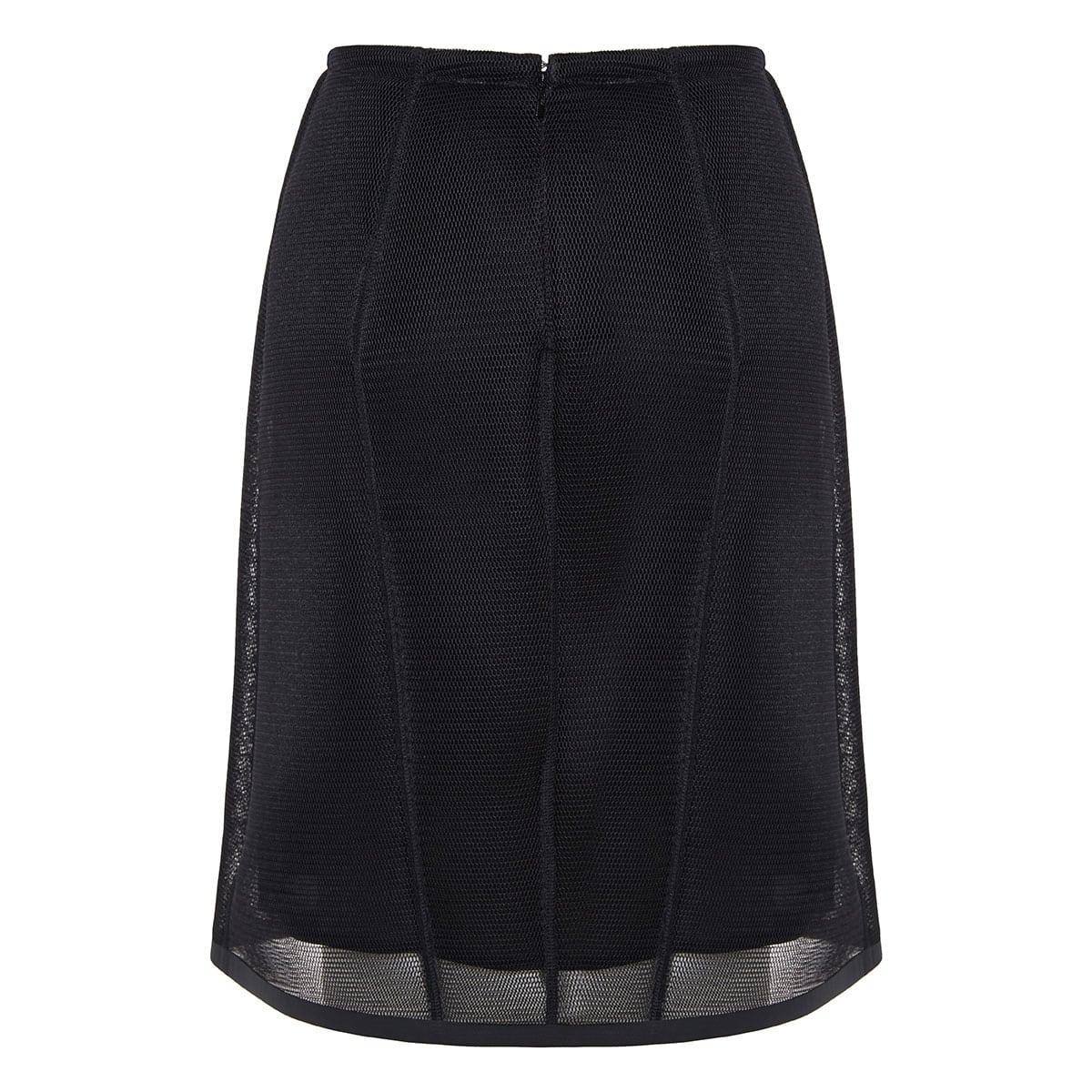 Mesh-paneled A-line skirt