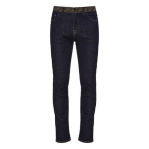 FF-detailed slim-fit jeans