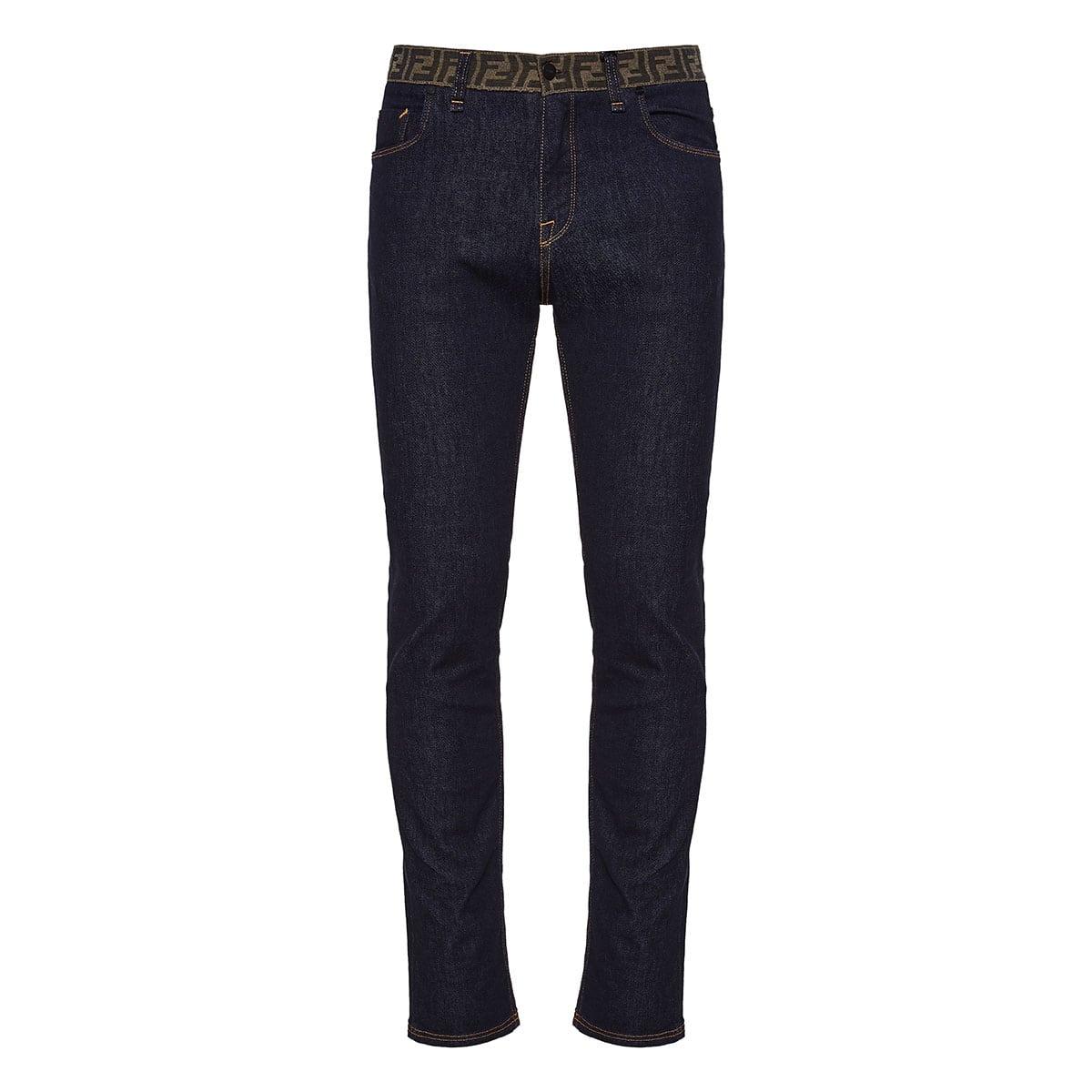 FF-detailed slim-fit jeans