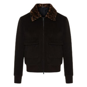 FF fur-collar wool jacket