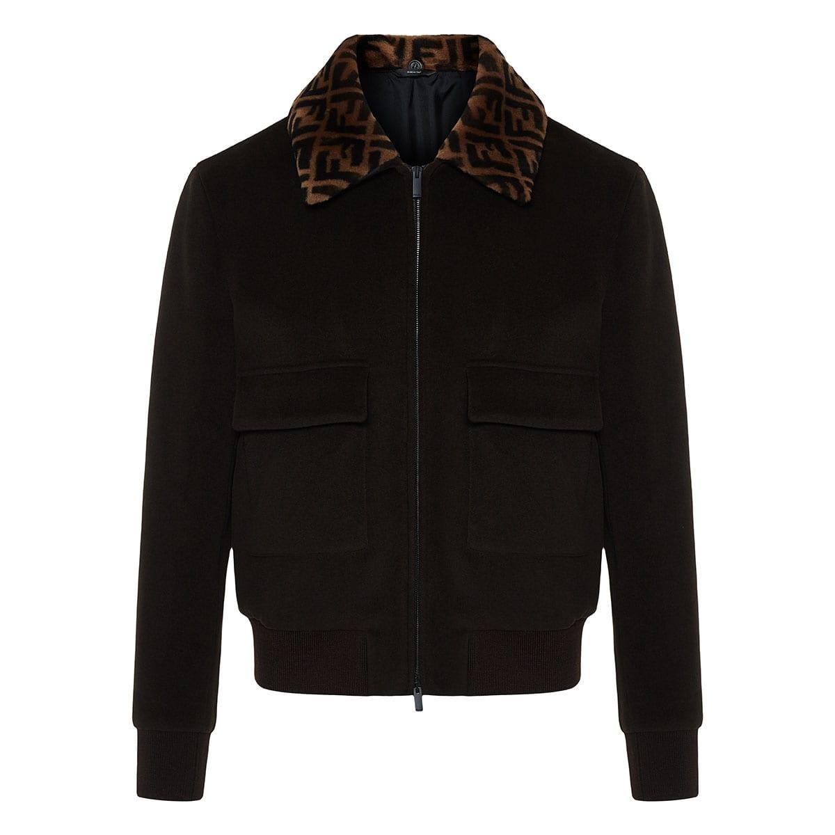FF fur-collar wool jacket