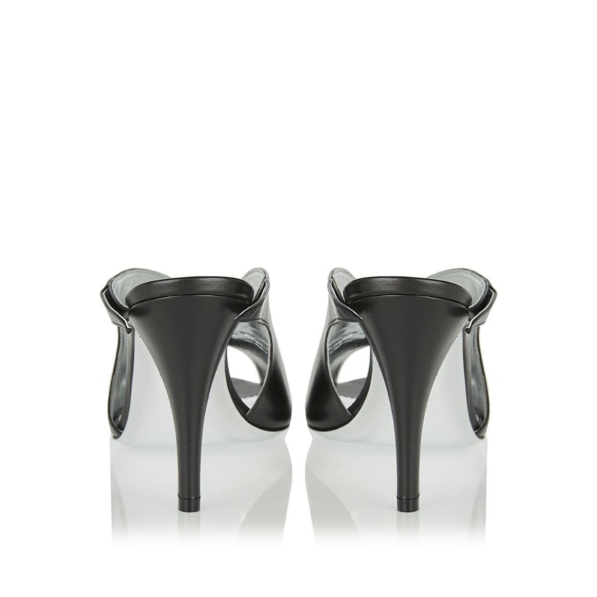 Peep-toe leather mules