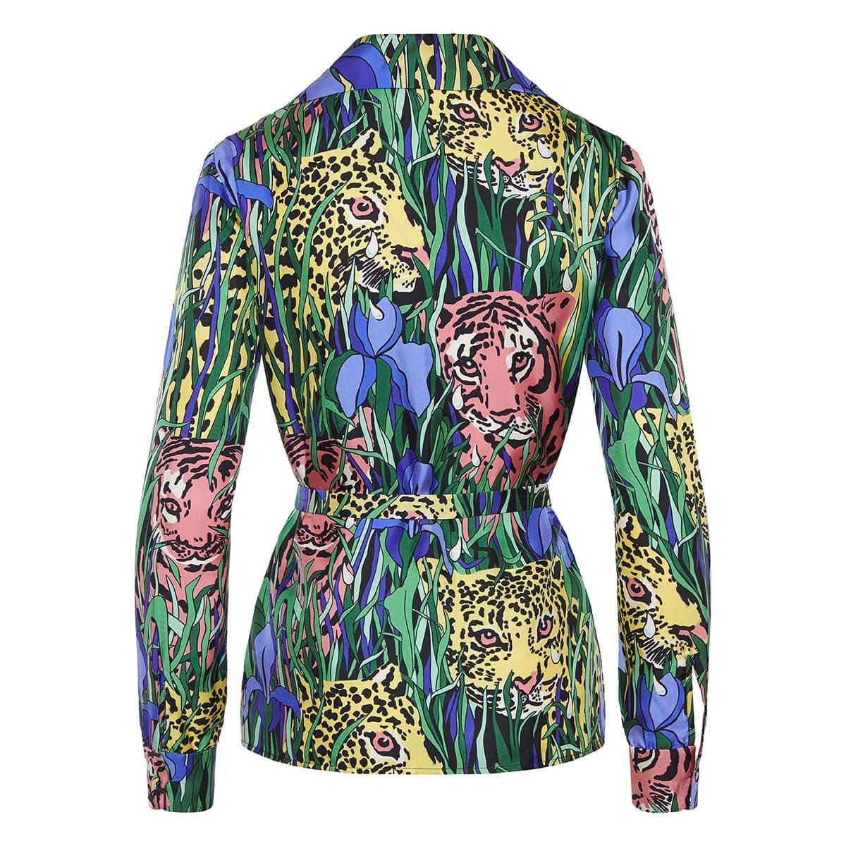Feline garden belted silk shirt