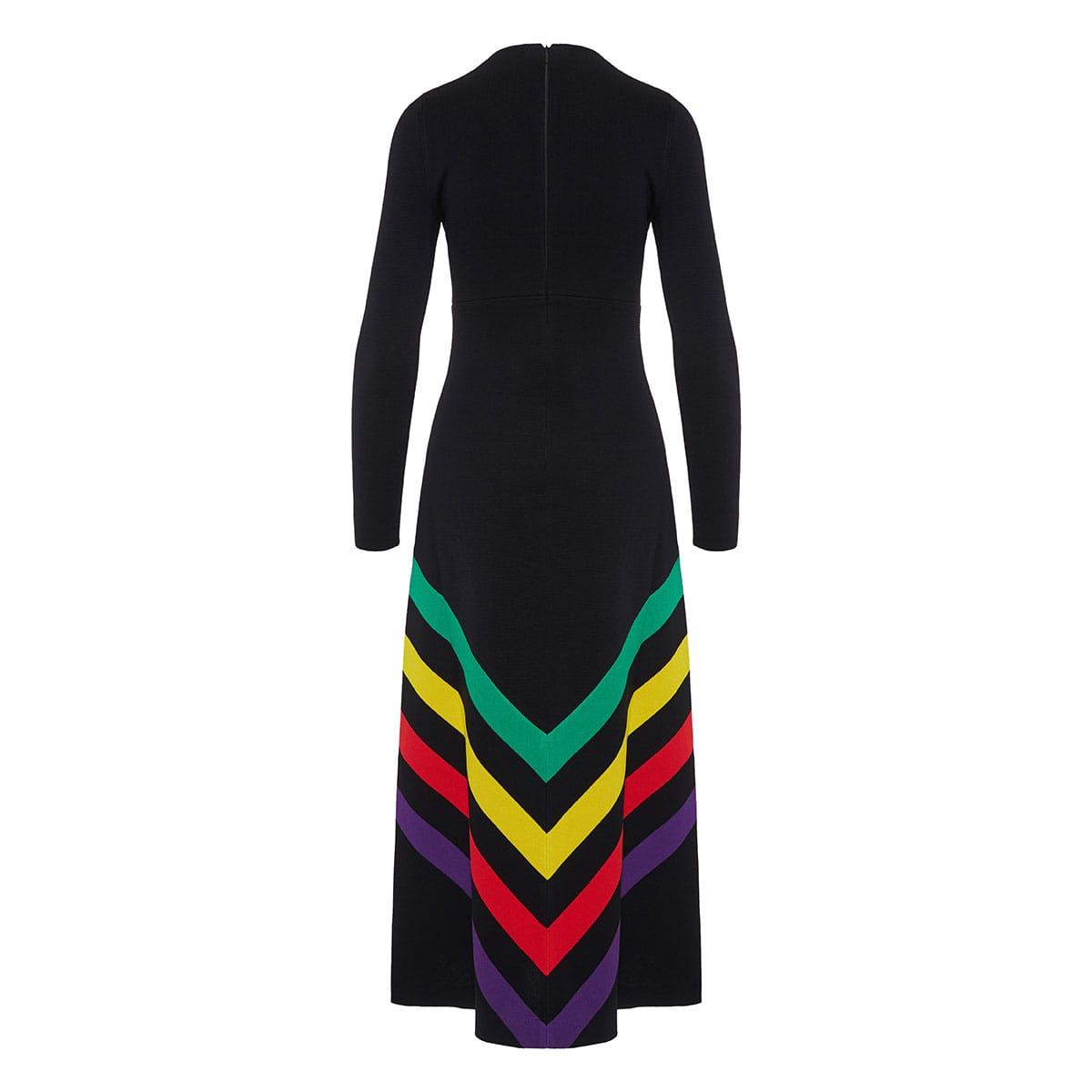 Stripe-detail long knitted dress