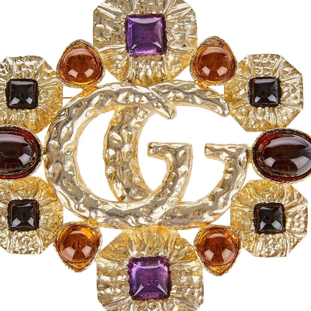 GG stone-embellished brooch