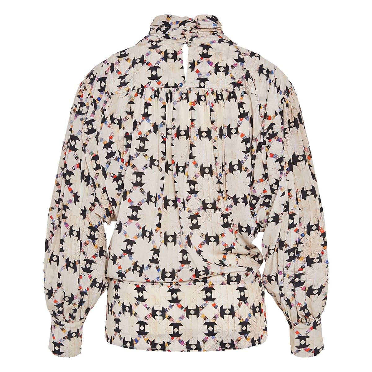 Brandi balloon-sleeved printed blouse