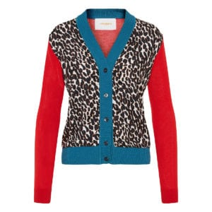 Gemini color-blocking leopard cardigan