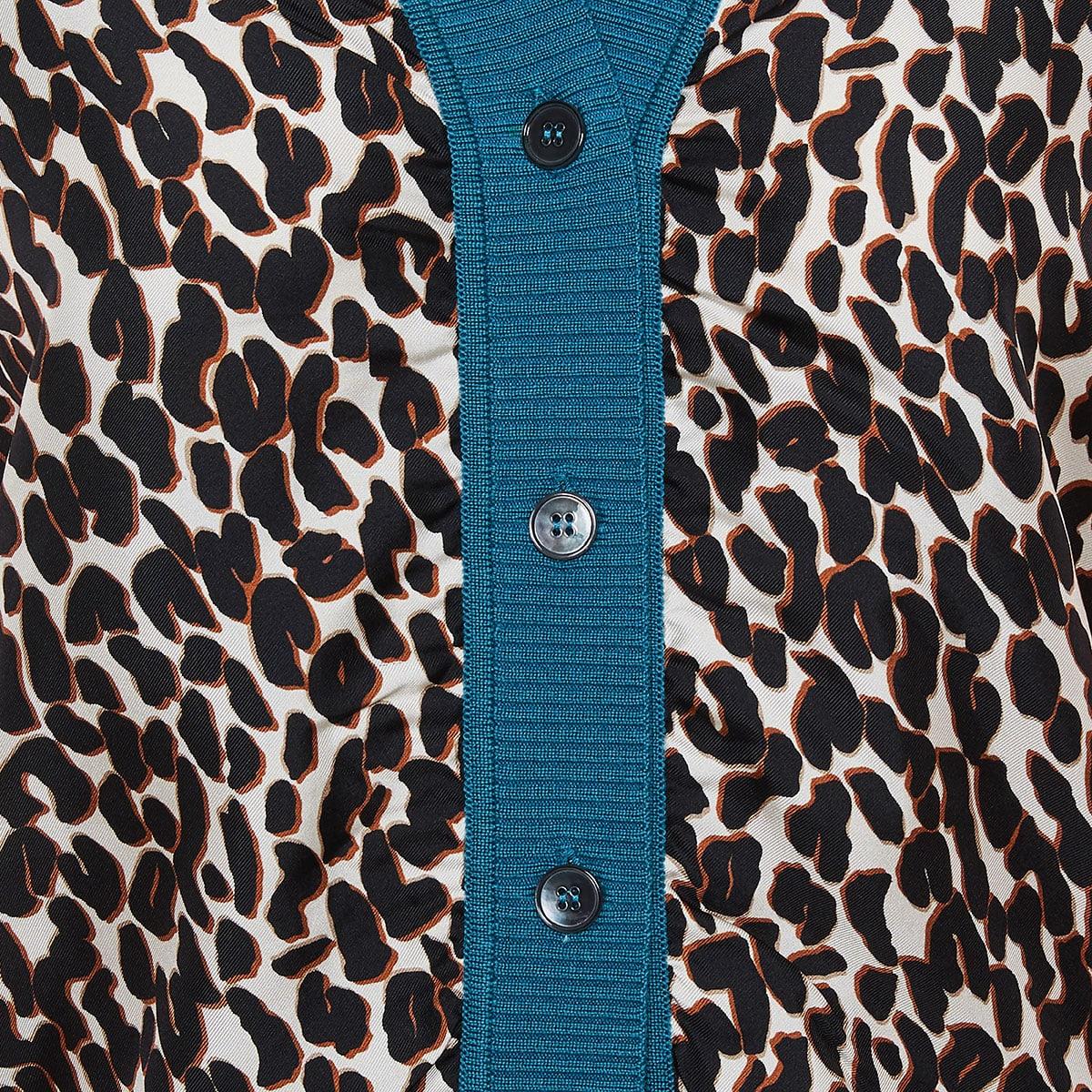 Gemini color-blocking leopard cardigan