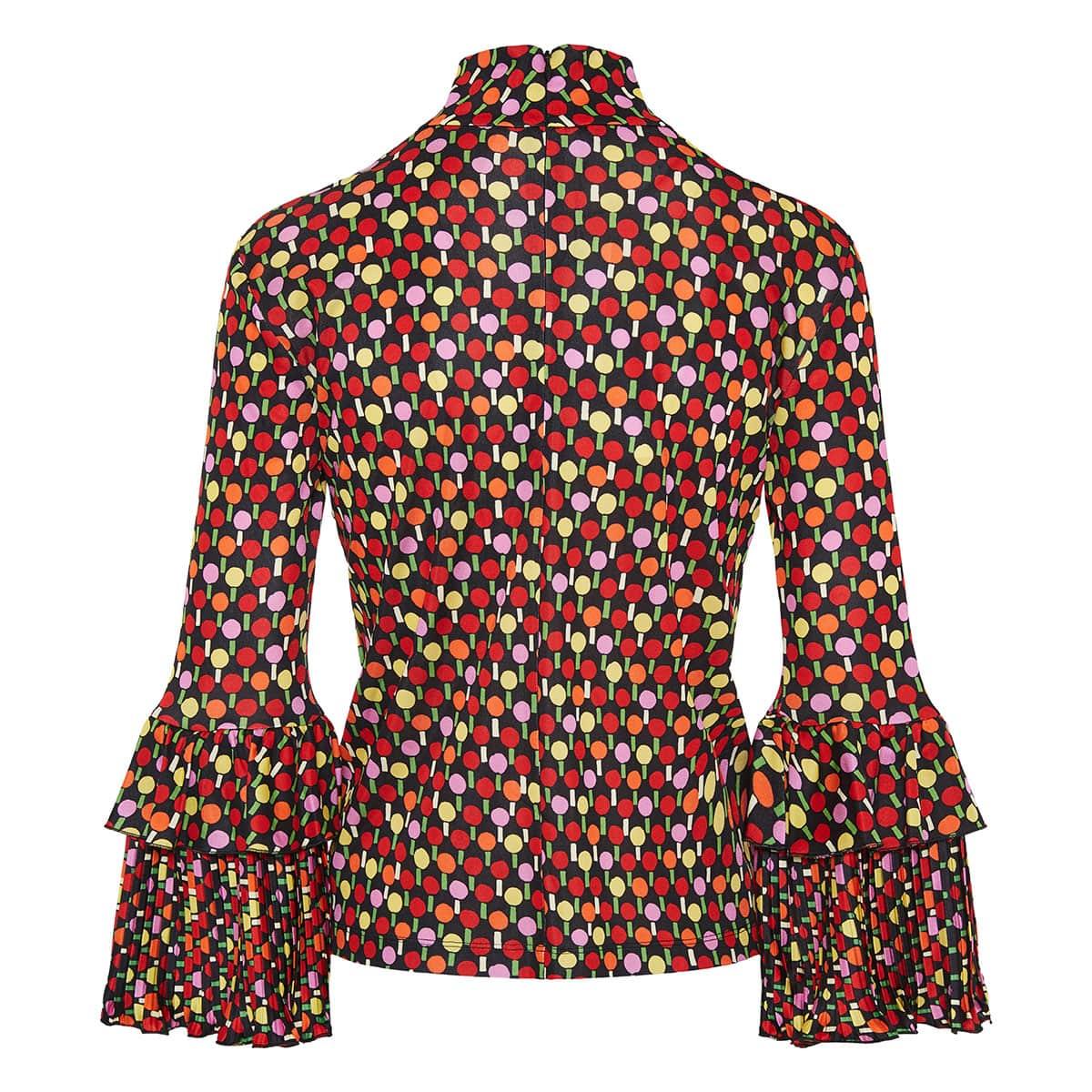 Ping pong print ruffled-cuff blouse