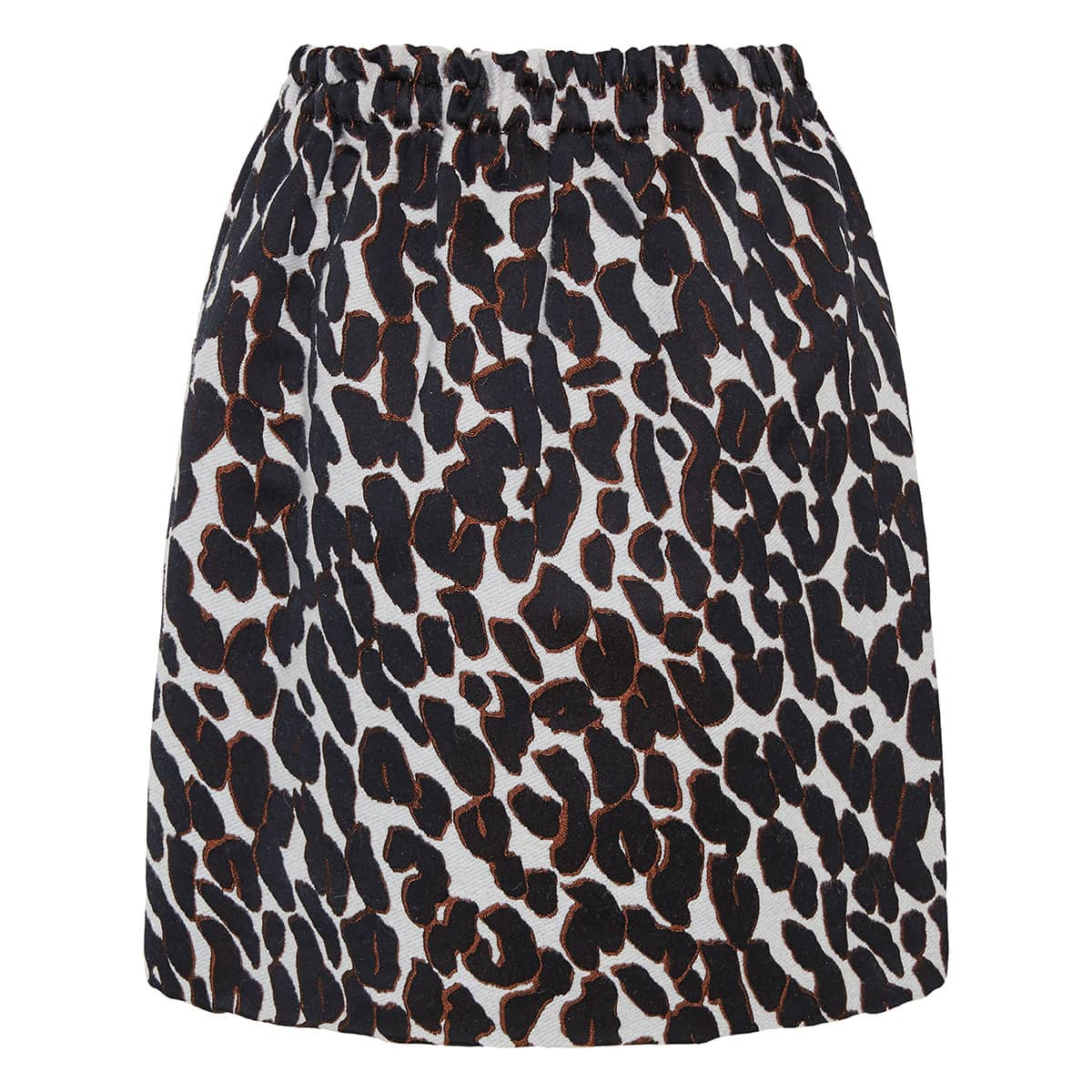 Leopard-jacquard balloon mini skirt