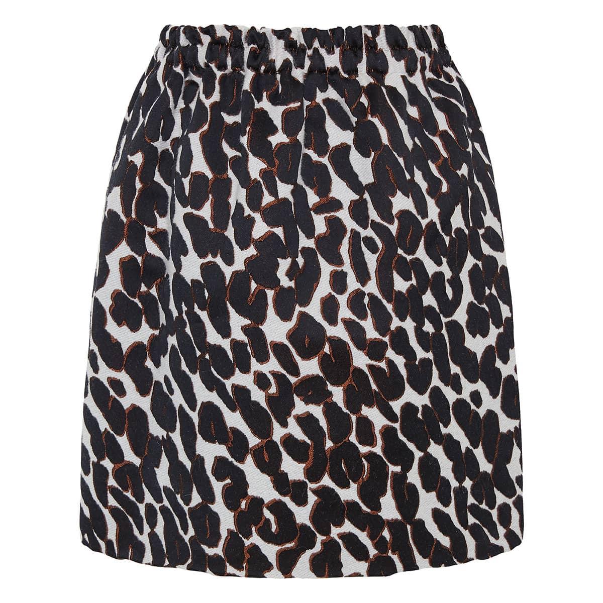Leopard-jacquard balloon mini skirt
