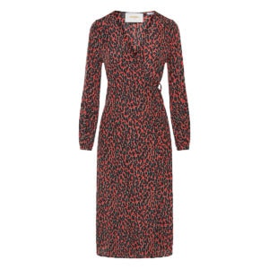Leopard wrap midi dress