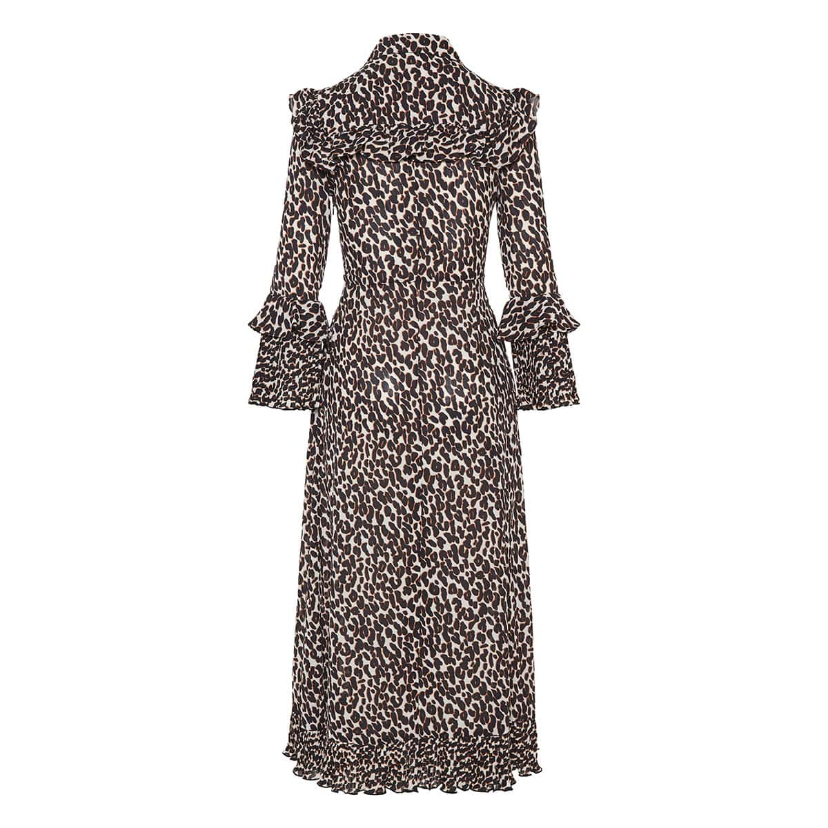 Leopard ruffle-trimmed midi dress