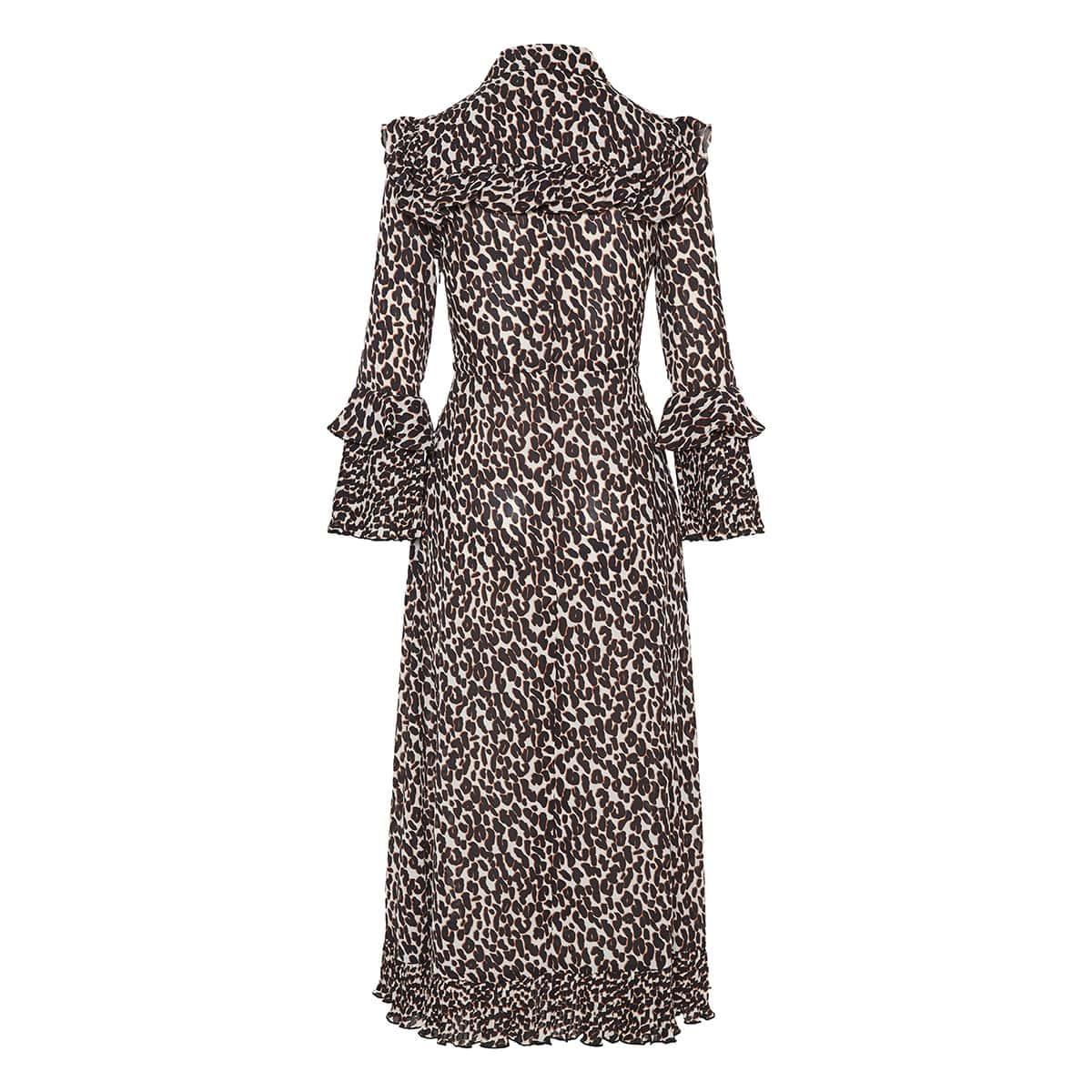 Leopard ruffle-trimmed midi dress