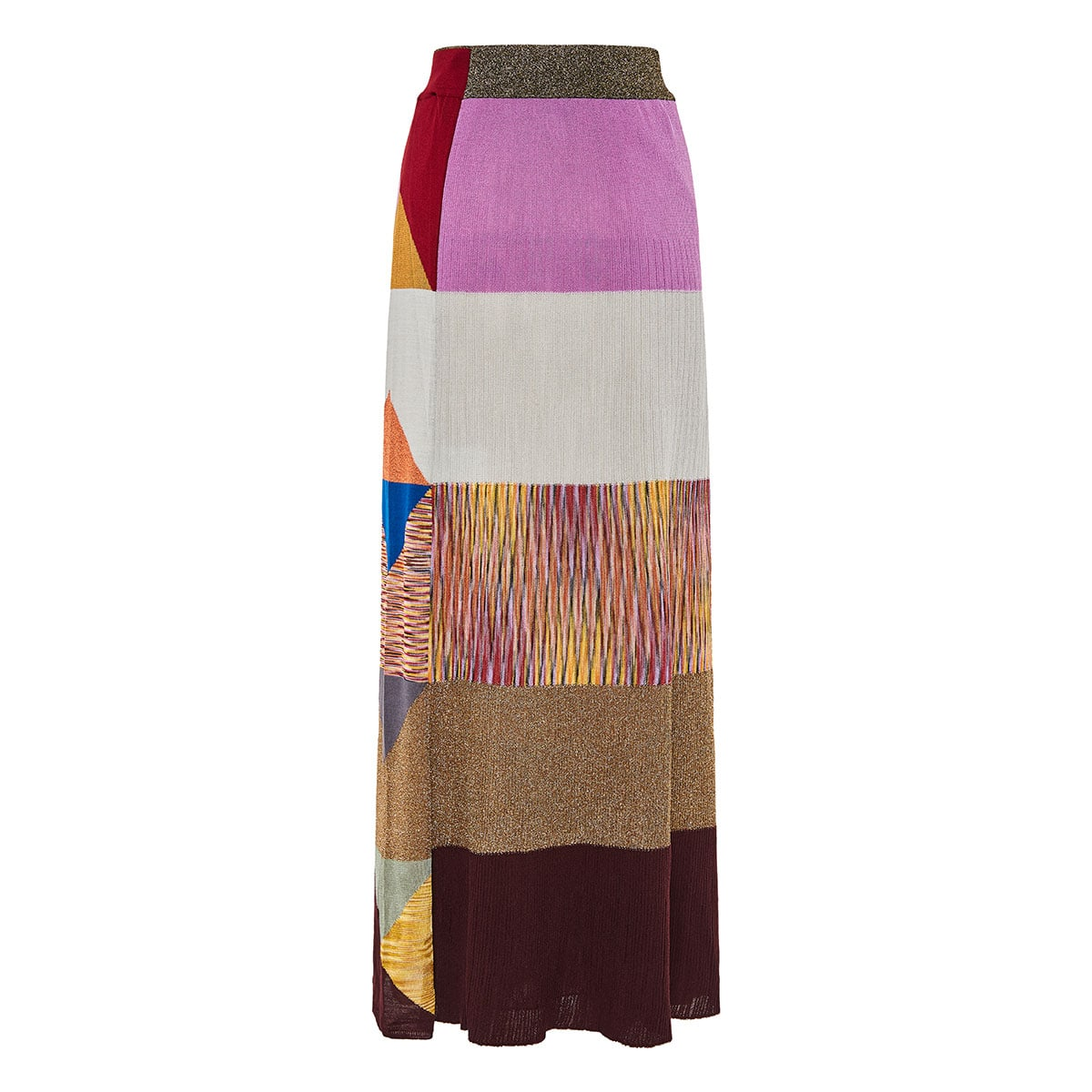 Striped long knitted skirt