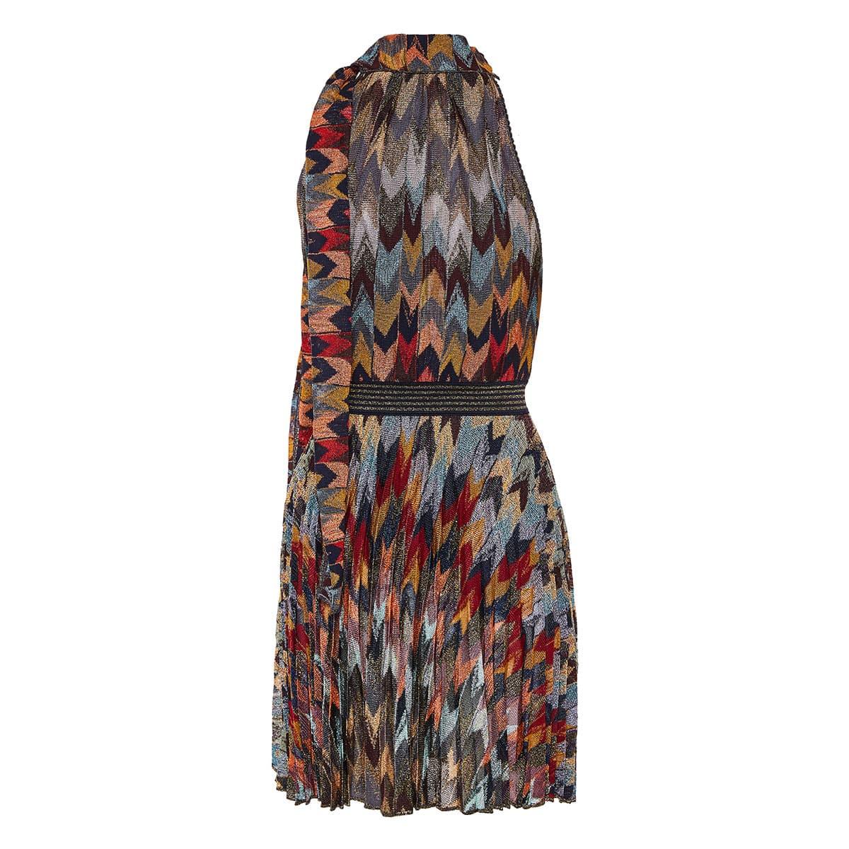 Halterneck printed lurex mini dress