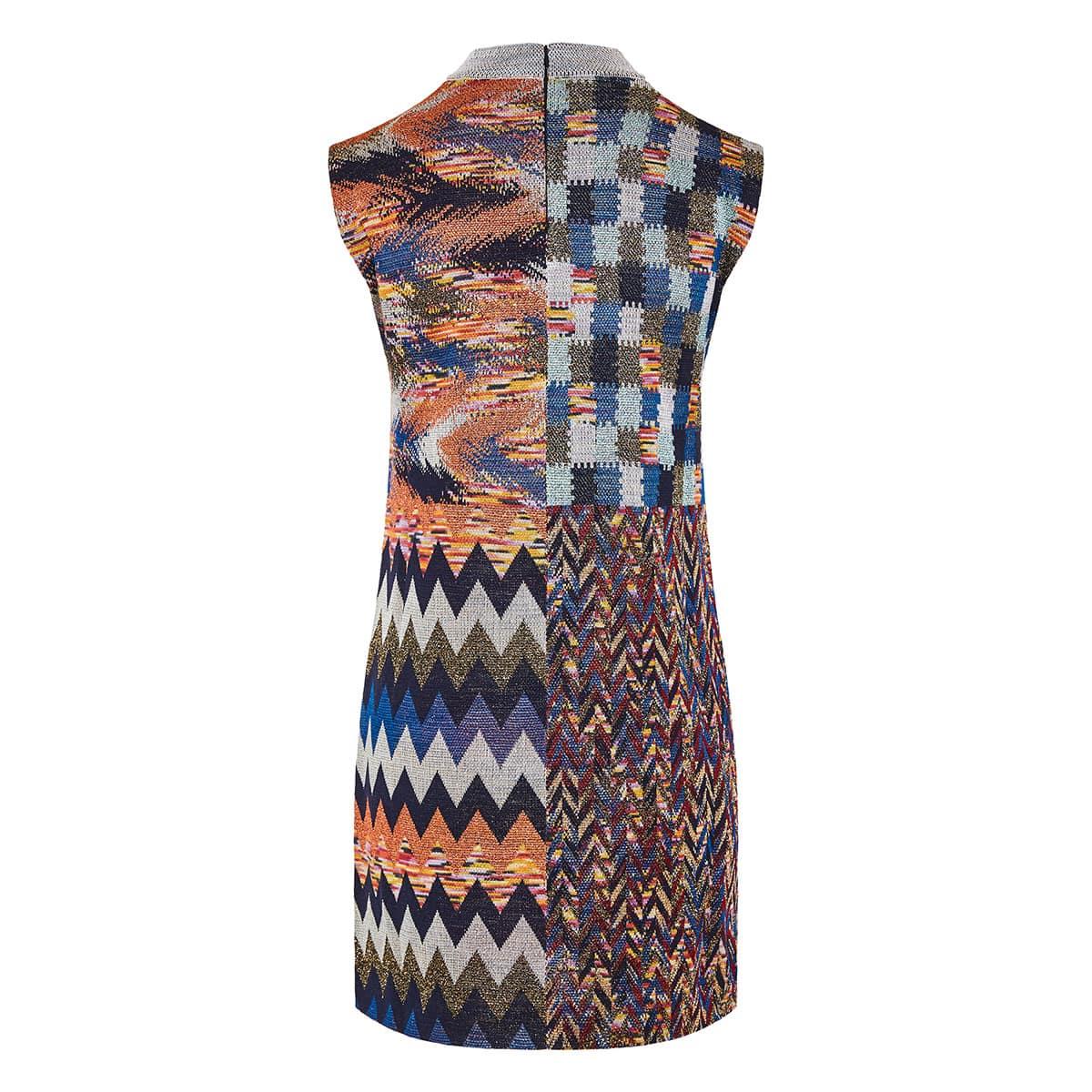 Patchwork printed mini dress