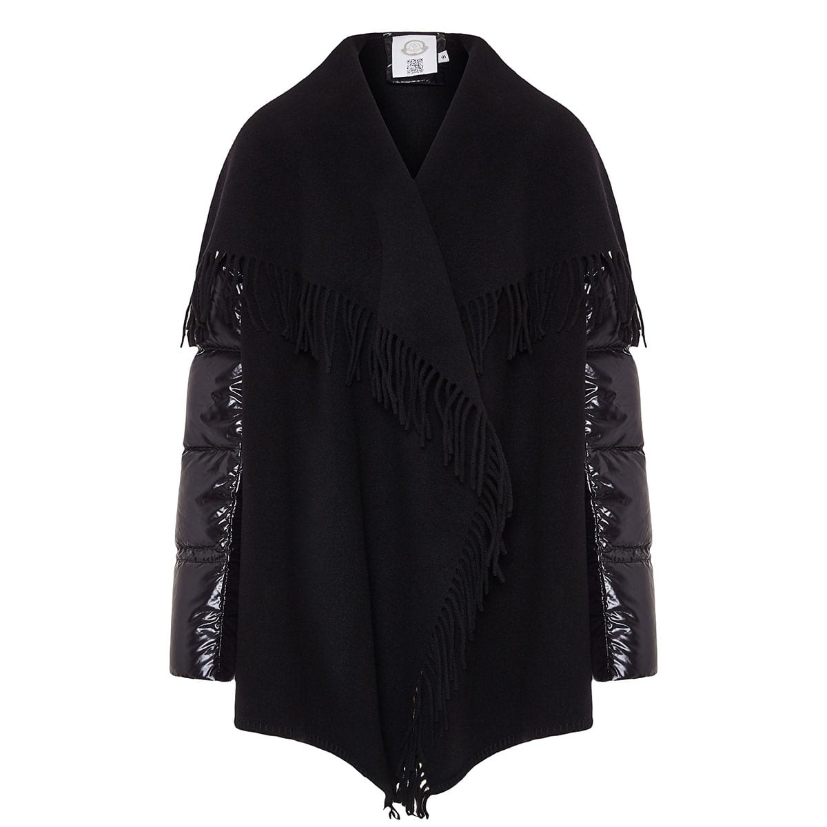 Wool cape with quilted down sleeves