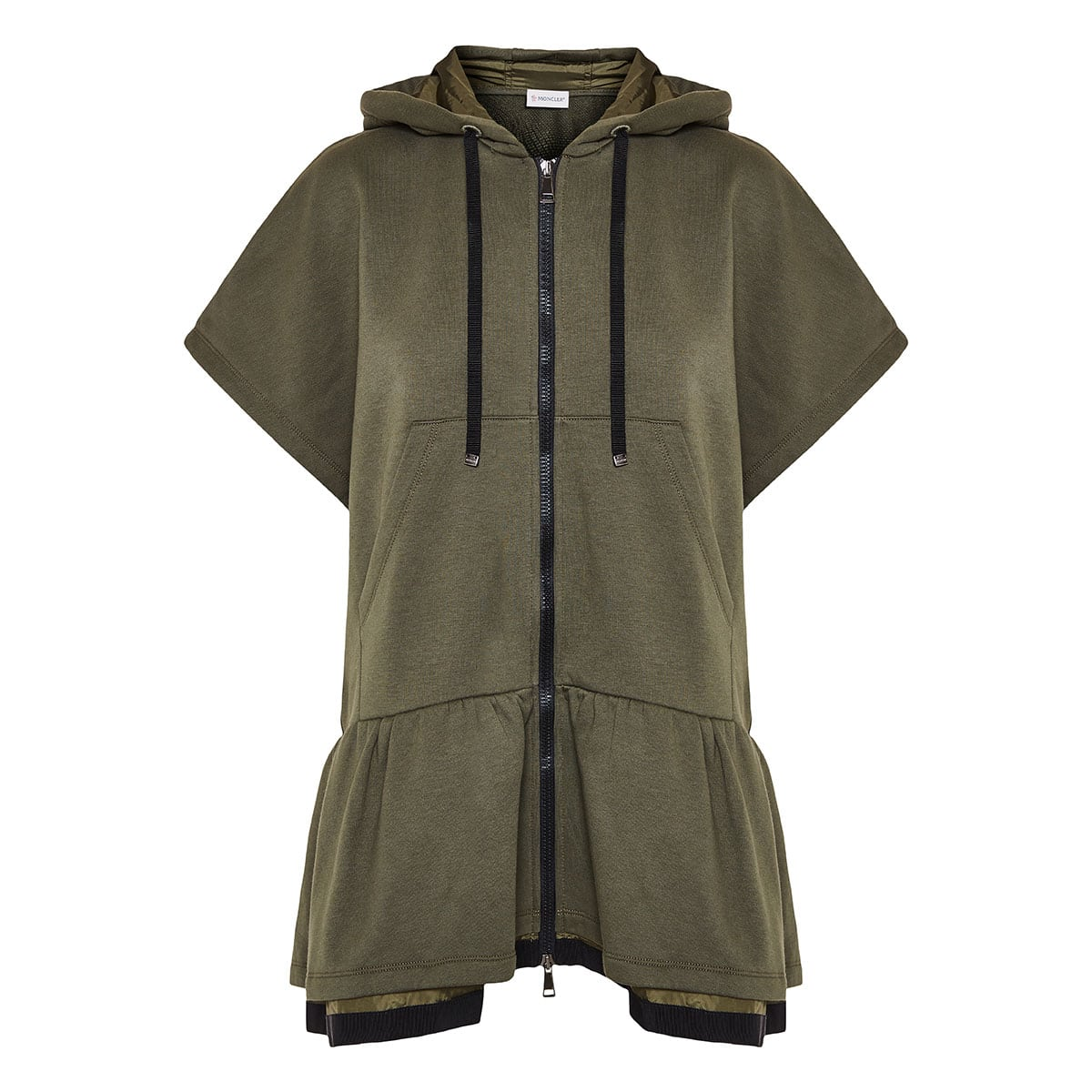 Oversized ruffled zipper hoodie