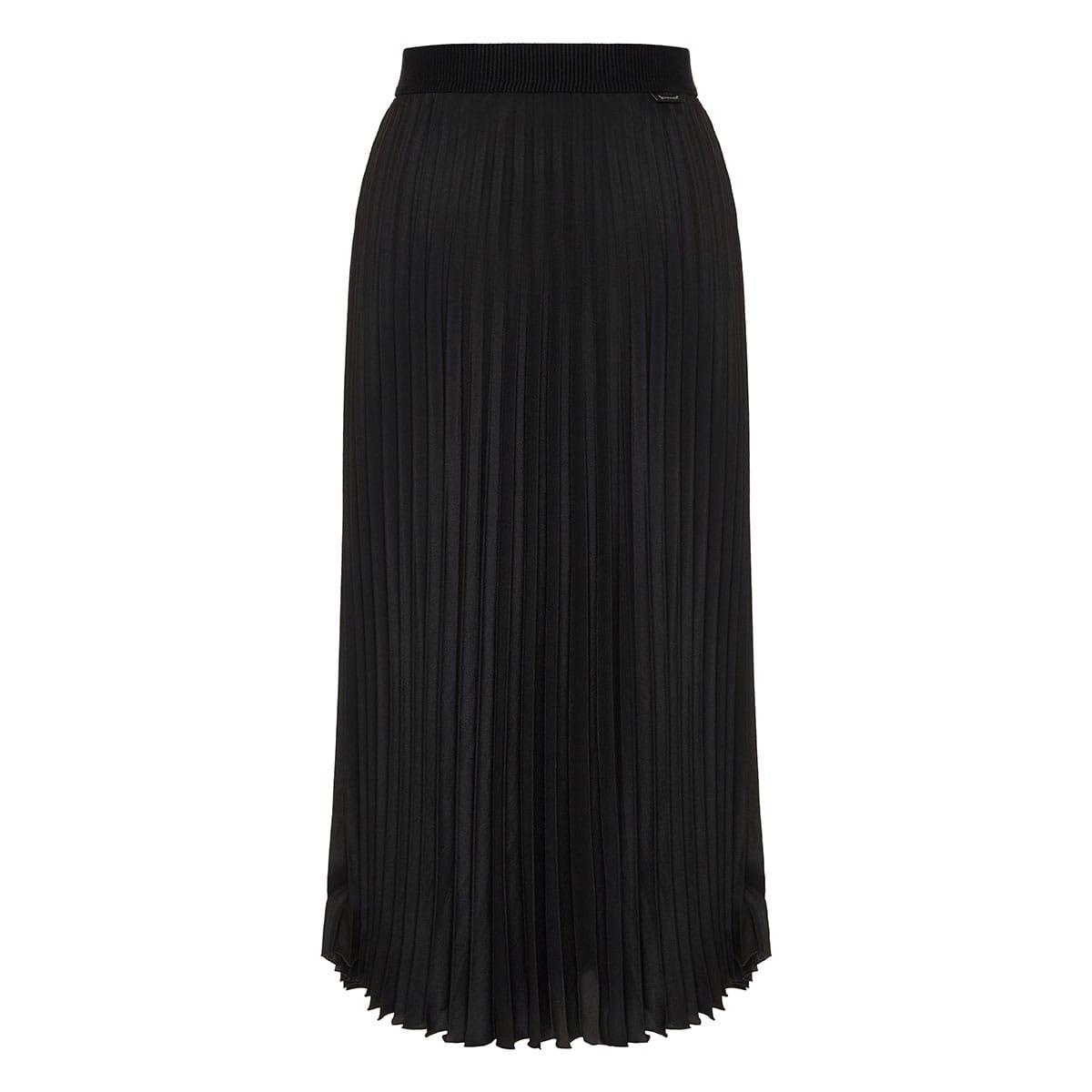 Long pleated crepe skirt