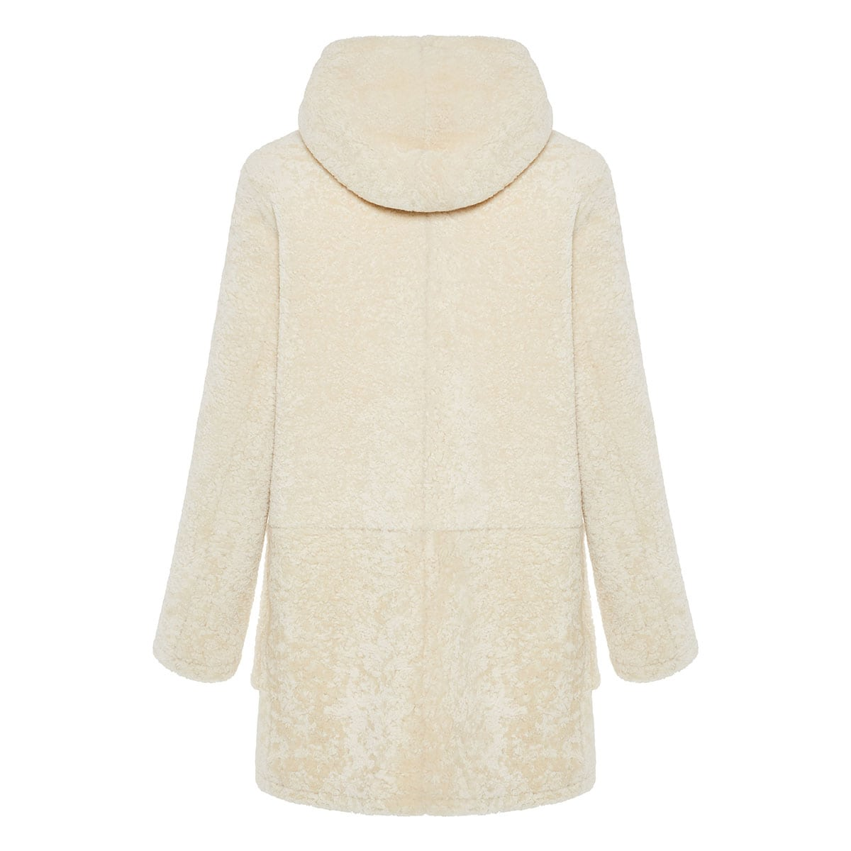 Shearling hooded duffle coat