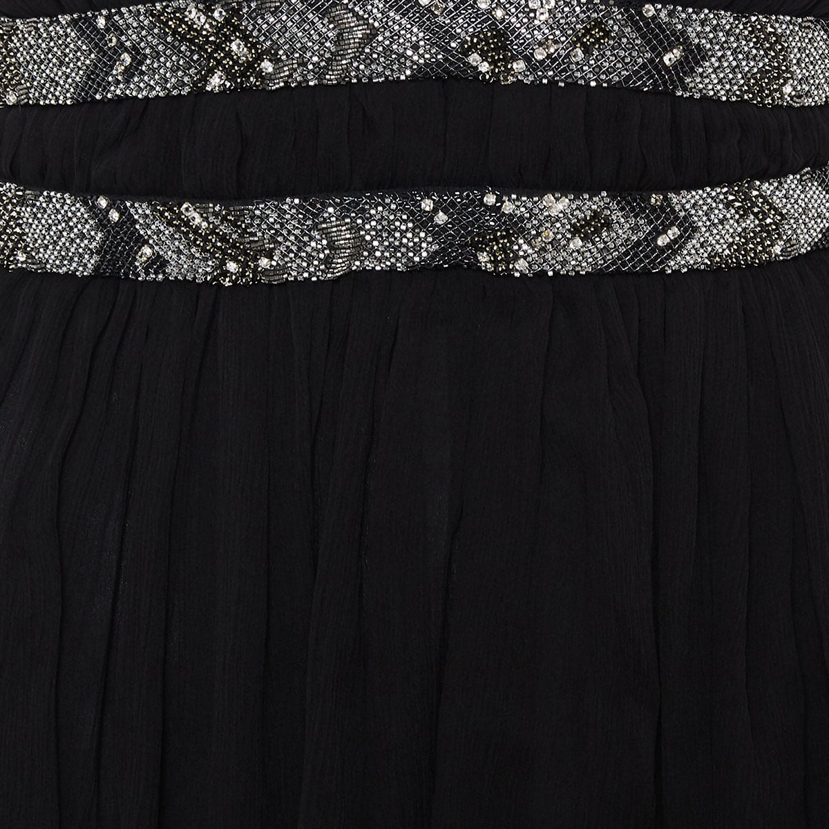 Embellished draped mini dress
