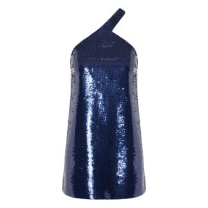 Asymmetric sequin mini dress