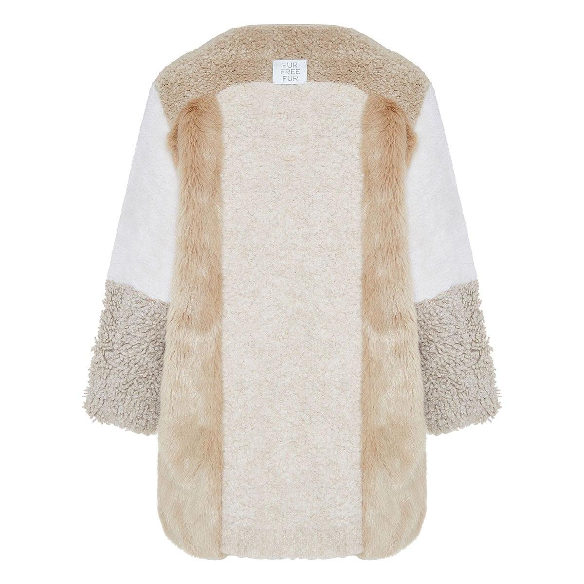 Faux fur-paneled alpaca coat