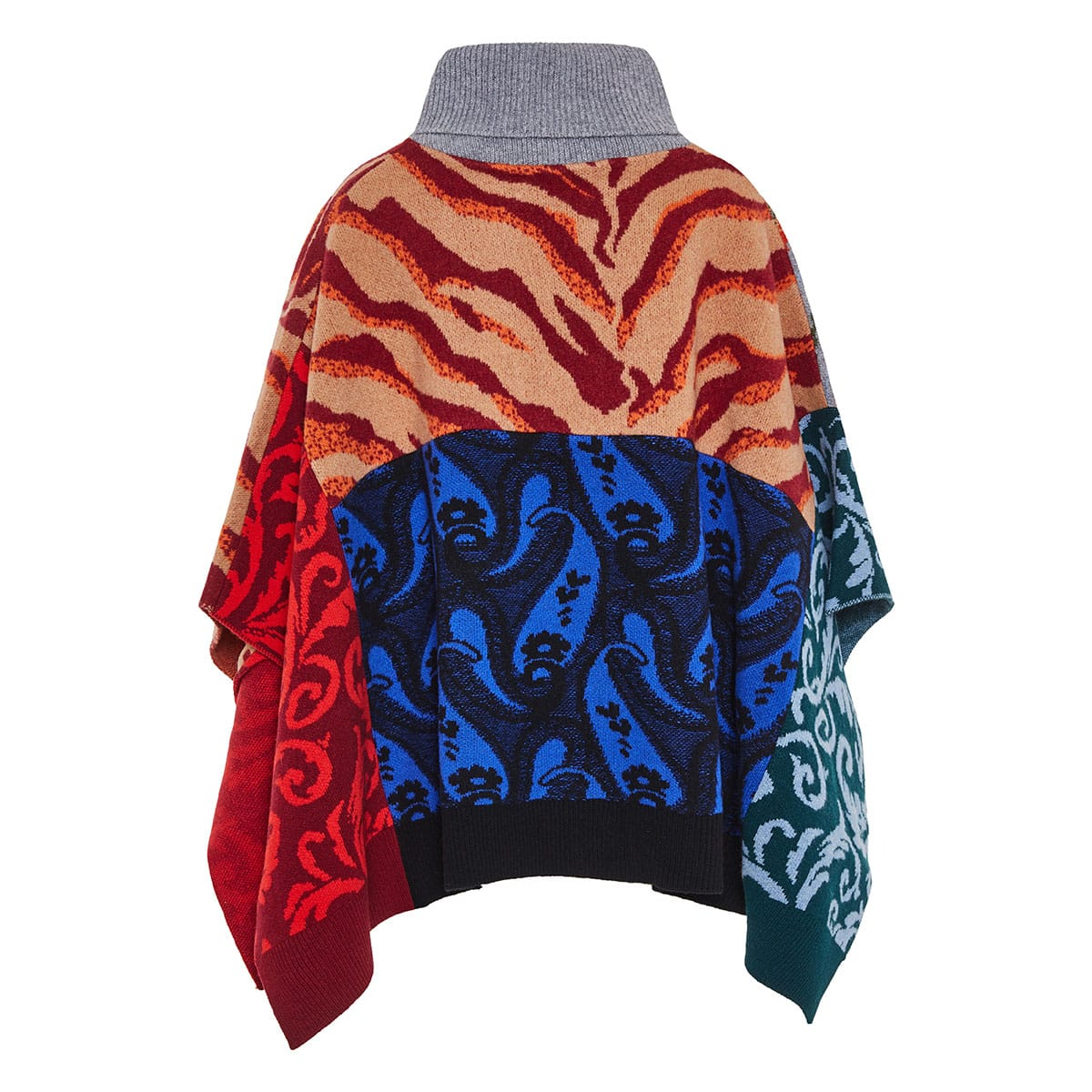 Patchwork-printed wool poncho