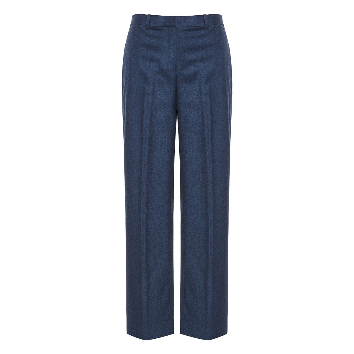 Wide-leg flannel tailored trousers