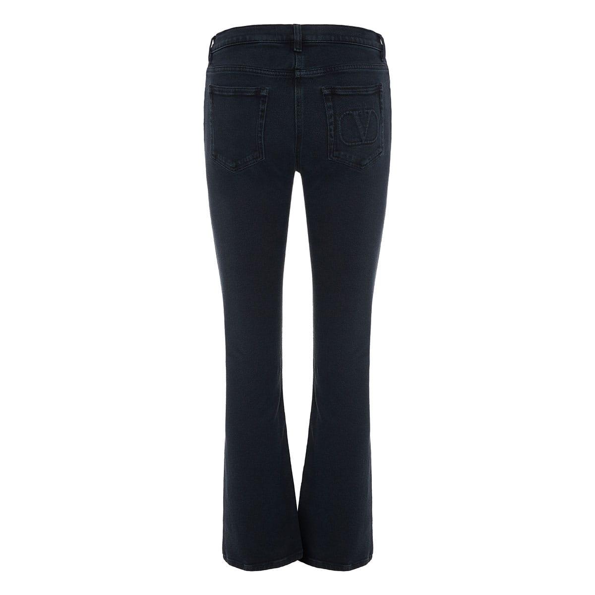 V-logo flared jeans
