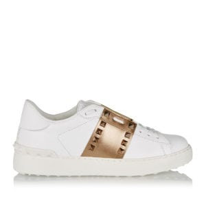 Open two-tone leather sneakers