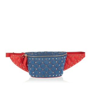 Rockstud denim and leather belt bag