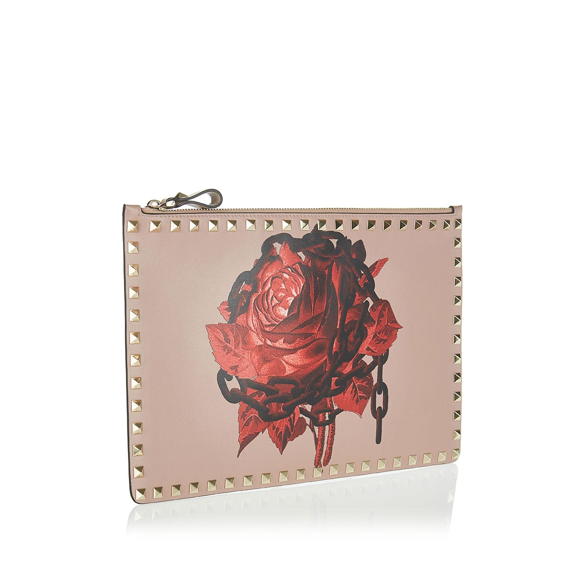 Rockstud rose-printed pouch