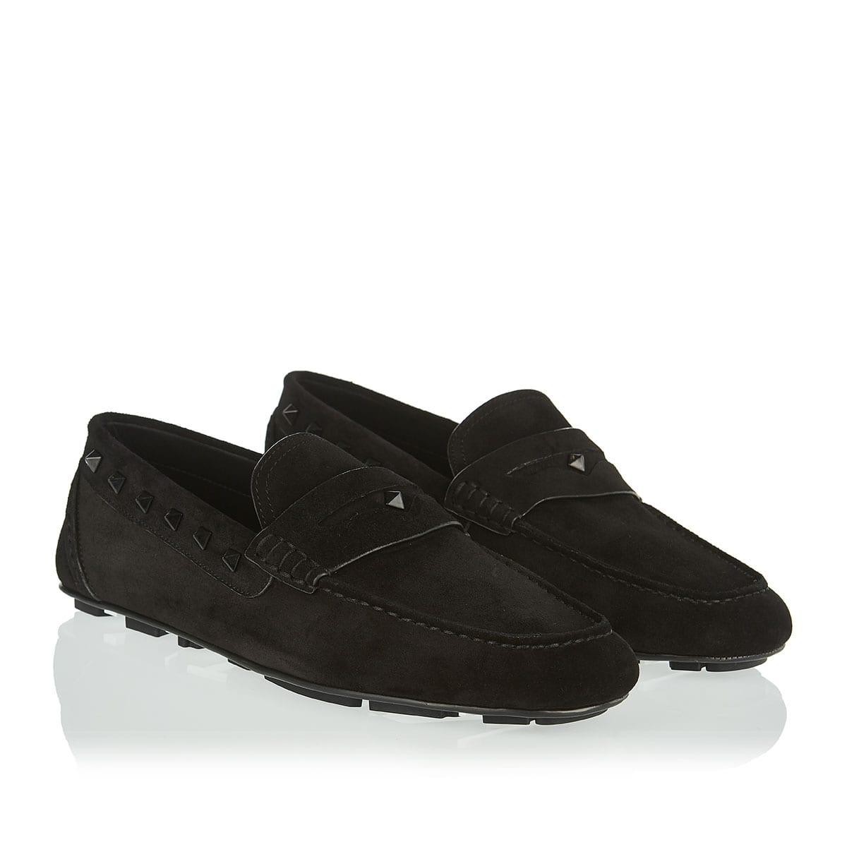 Rockstud suede loafers