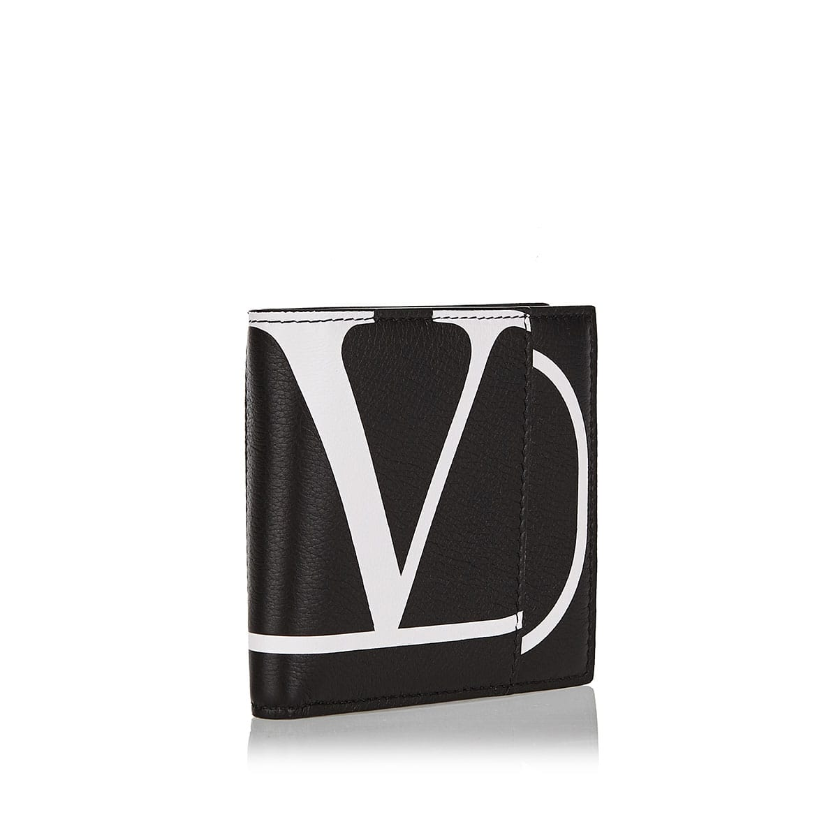 V-logo leather bi-fold wallet