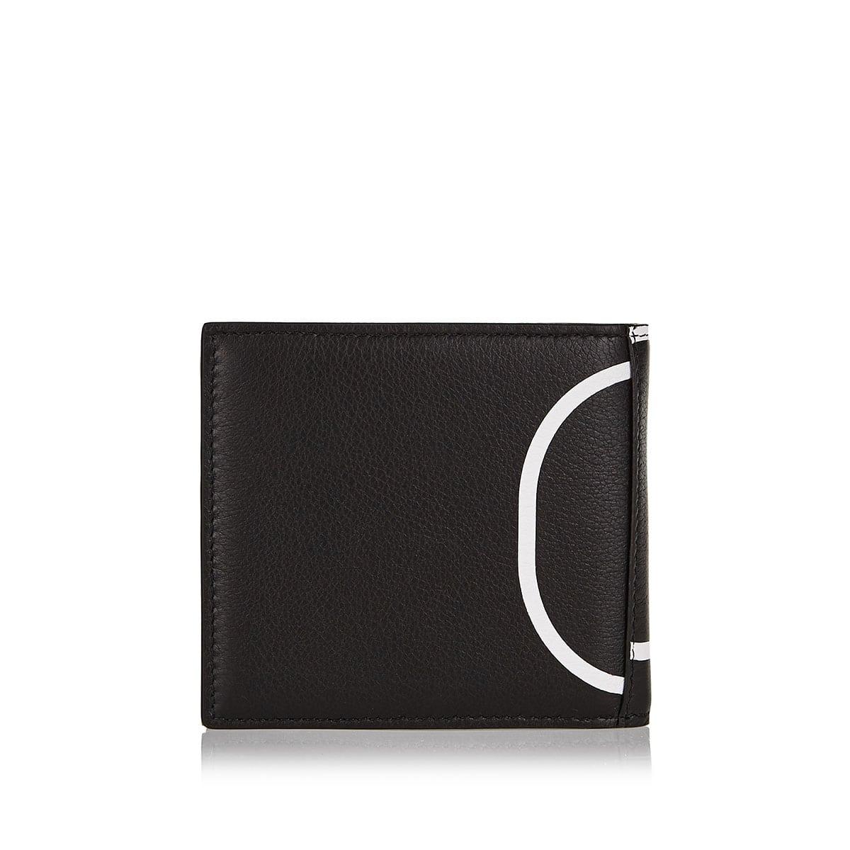 V-logo leather bi-fold wallet