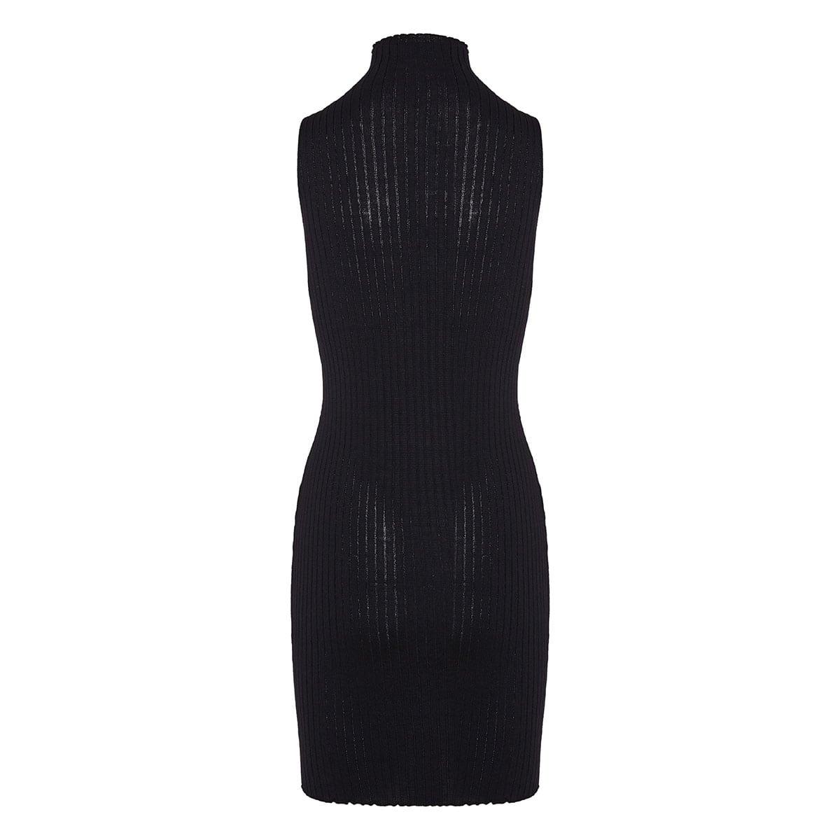 Greca-chain ribbed-knit mini dress